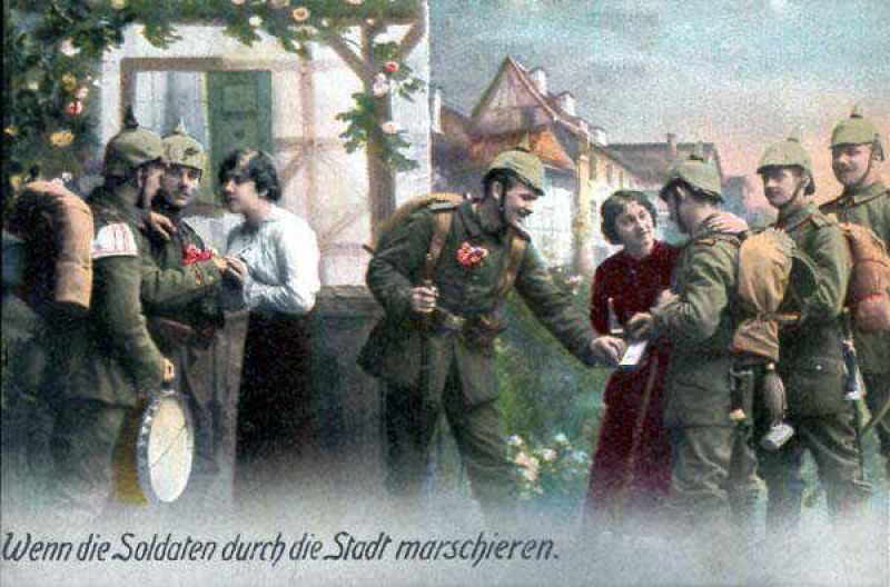 Немецкая открытка 1916 года с текстом песни «Wenn die Soldaten durch die Stadt marschieren»