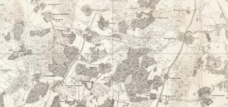 Село Троицкое на карте первой половины XIX века (слева внизу). Хорошо видны четыре пруда, три из которых существуют и сегодня. Рядом село Тёплыя Станы - оно перешло к Салтыковой после смерти её отца.