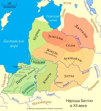 Карта народов Балтики XII века