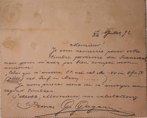 старое письмо, князь григорий григорьевич гагарин, французский текст, маленькие истории