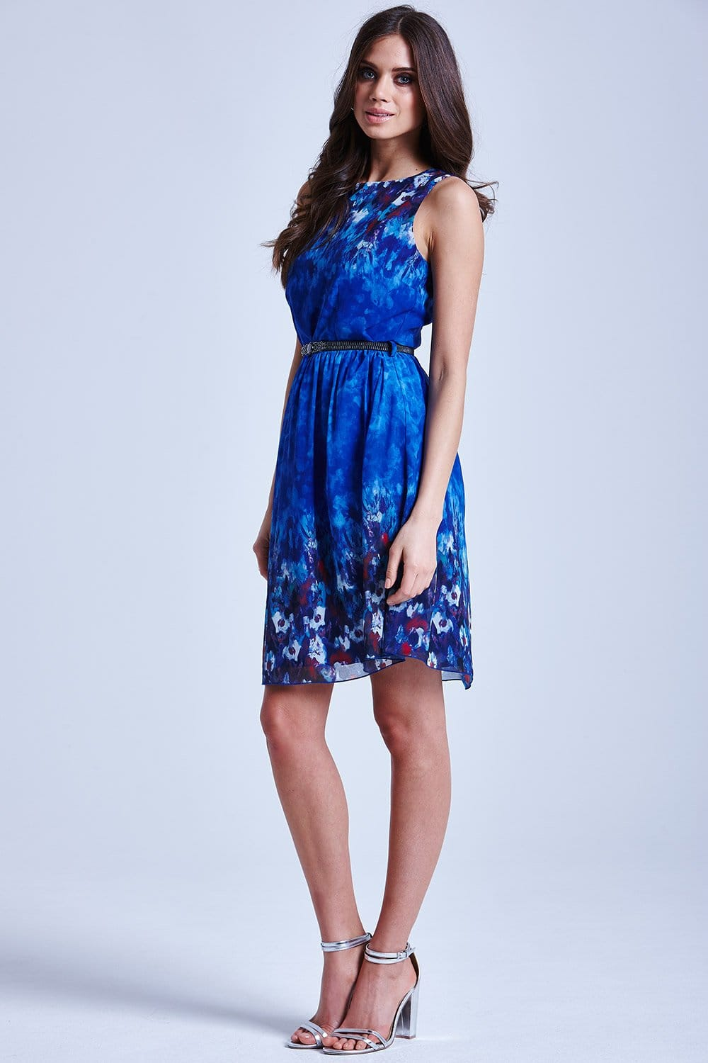 Blue Water Paint Floral Fit and Flare Dress  from Little Mistress UK