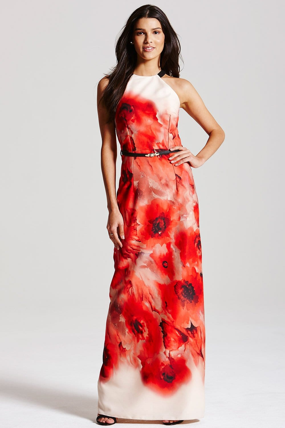 Blurred Poppy Print Maxi Dress  from Little Mistress UK