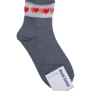 chaussettes grises cœurs