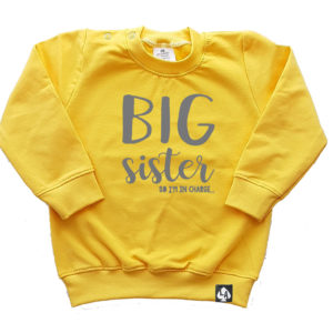 baby sweater geel big sister