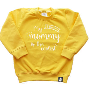 baby sweater geel mommy