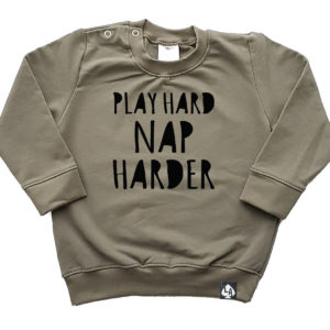 baby sweater khaki play hard