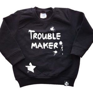 baby sweater zwart trouble maker