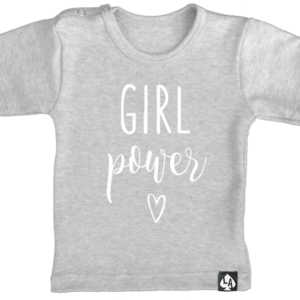 baby tshirt grijs korte mouw girl power
