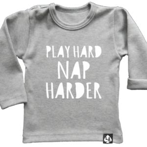 baby tshirt grijs play hard