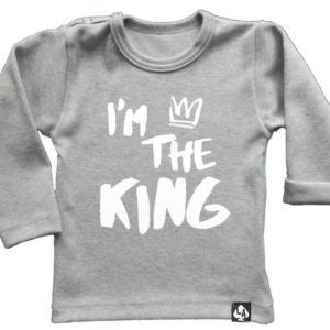 baby tshirt specials im the king grijs