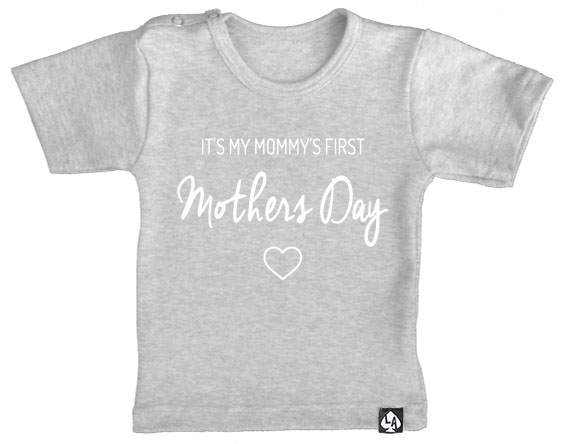 baby tshirt first mothersday grijs