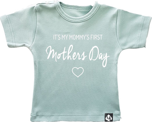baby tshirt first mothersday mintgroen