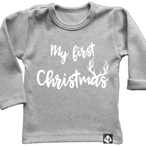baby tshirt specials kerst first christmas grijs