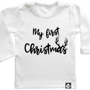 baby tshirt specials kerst first christmas wit