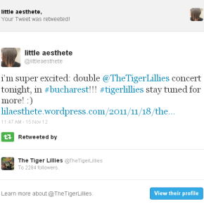 THE TIGER LILLIES SHARED AND RETWEETED MY STUFF