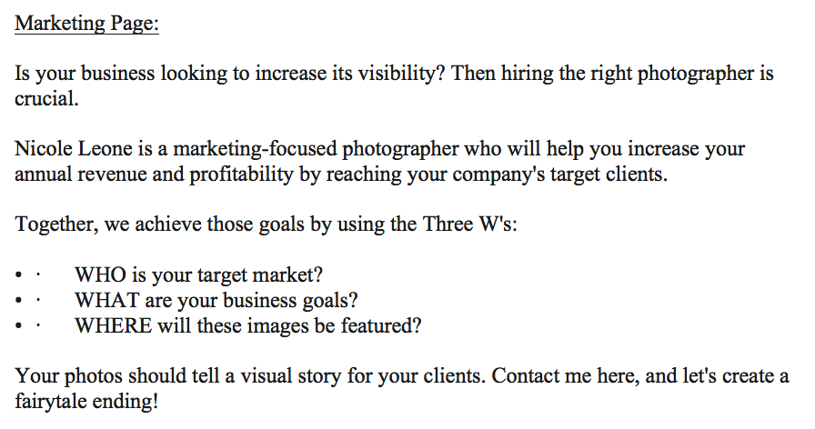Nicole Marketing page