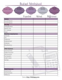 Budgeting Worksheet - Rcnschool