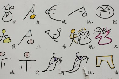 An einer Hauswand: Dongba-Zeichensprache und chinesische Übersetzung