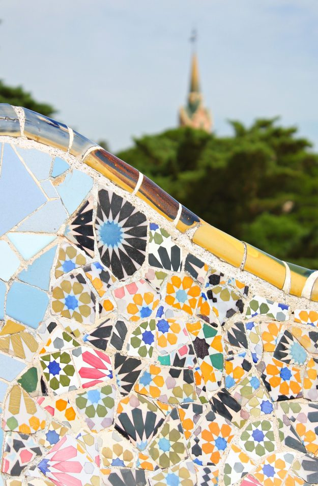 Gaudi_yellow_tile_mosaics_Park_Guell_Little_Big_Bell