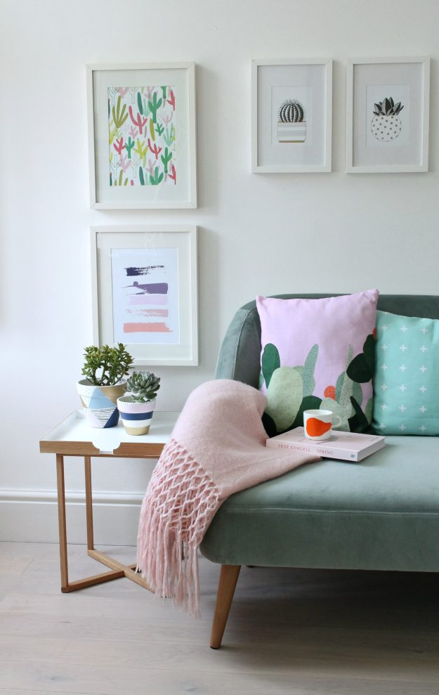 Green-velvet-sofa-from-Habitat-and-Etsy-prints-photo-by-Little-Big-Bell