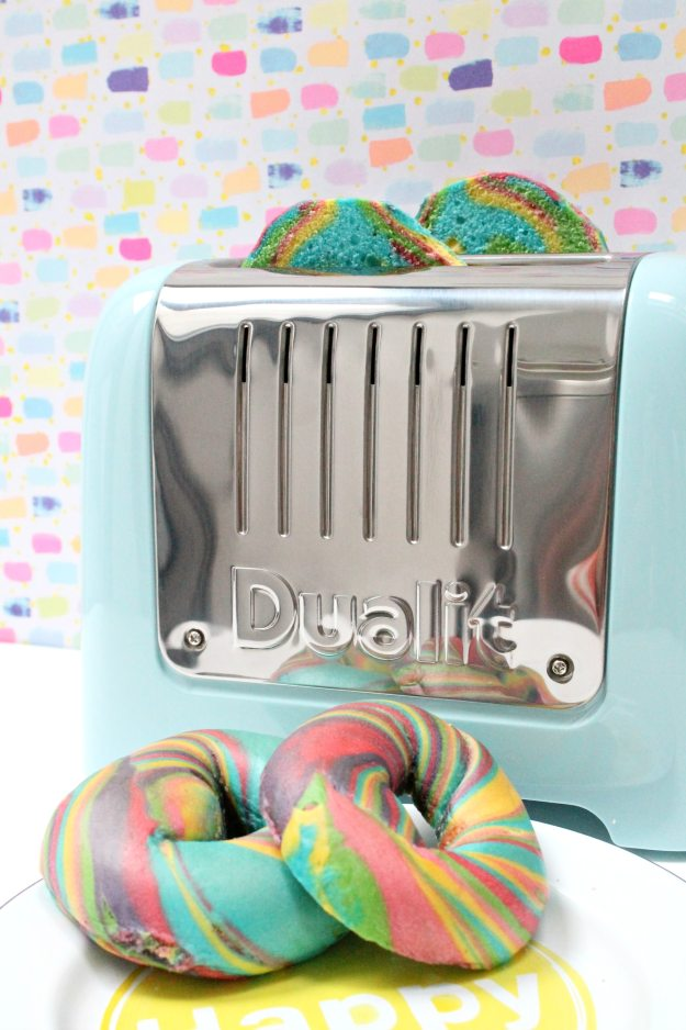 Dualit-Lite-toaster-blue-with-with-rainbow-bagels-photo-by-Little-Big-Bell