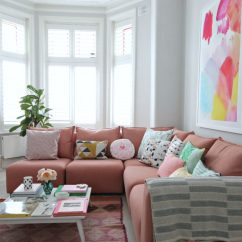 Living Room Footstool Small Open Plan Kitchen Staircase Littlebigbell How To Style A Pink Sofa. My Coral Sofa ...