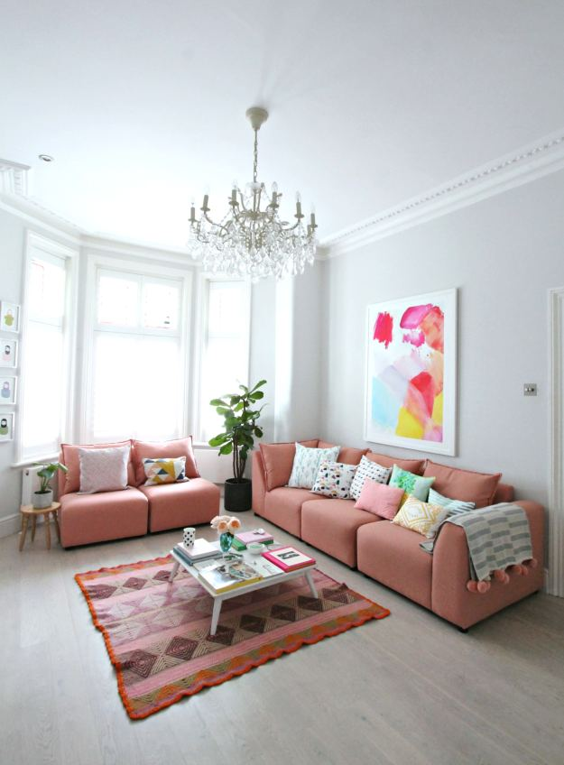 how to style a pink sofa