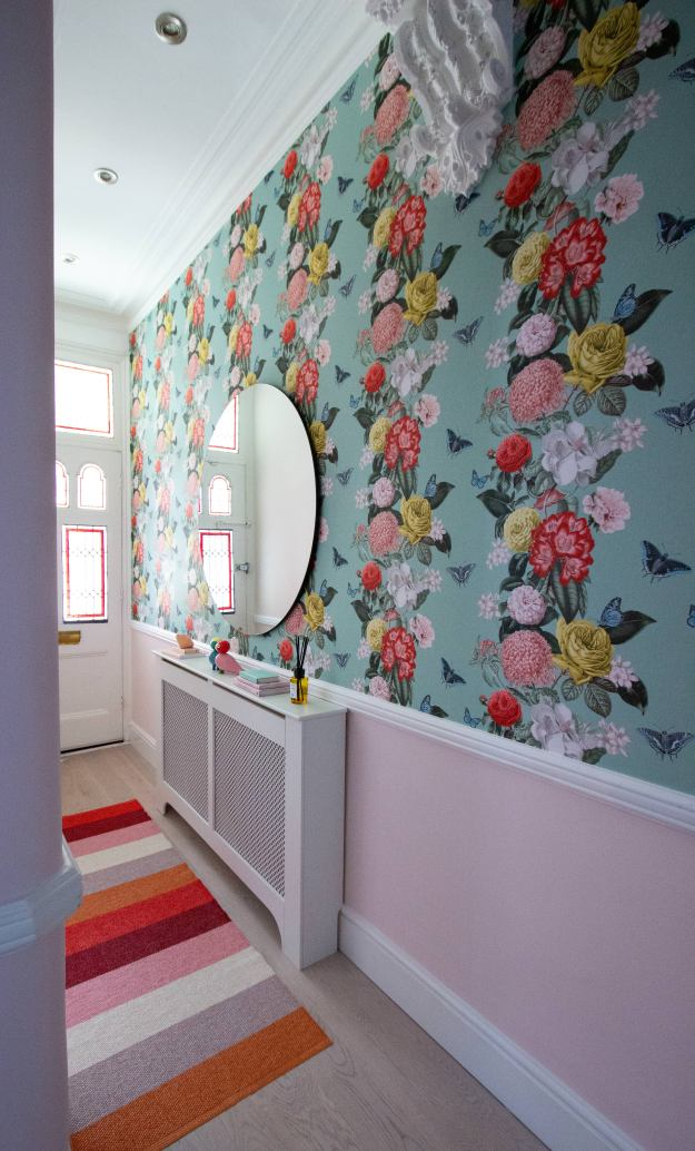 Graham & Brown wallpaper in hallway