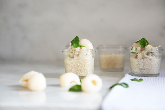 Ginger Tapioca with Lychees and mint