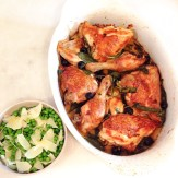 Chicken with black olive and crispy sage