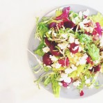 Salad of baby beets, leaves, goats cheese