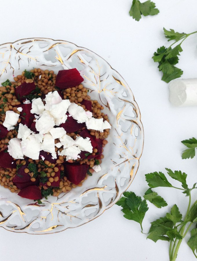 Lentil, Beetroot and Goats Cheese Salad