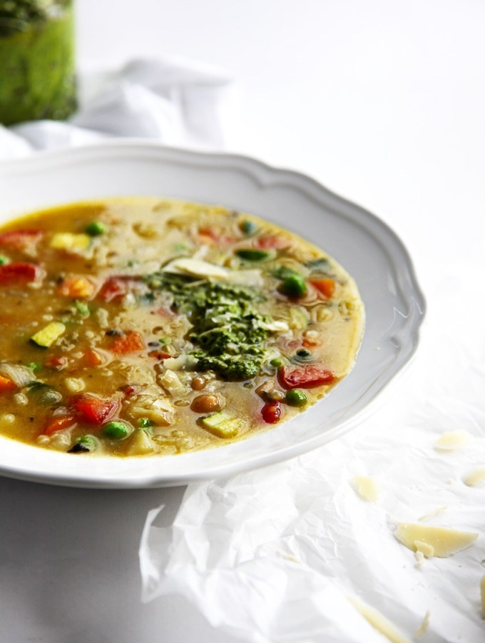Minestrone Soup with Pesto
