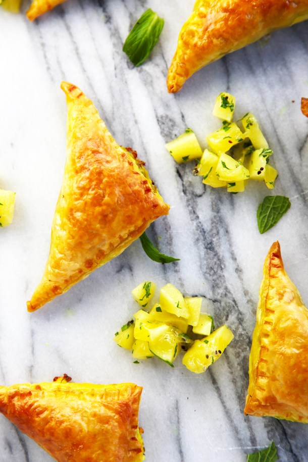 Moroccan lamb puff pastry triangles