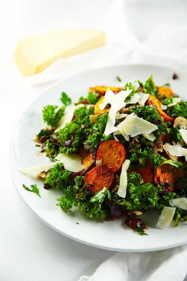 Sweet Potato, Kale and Crispy Onion Salad with Parsley Vinaigrette