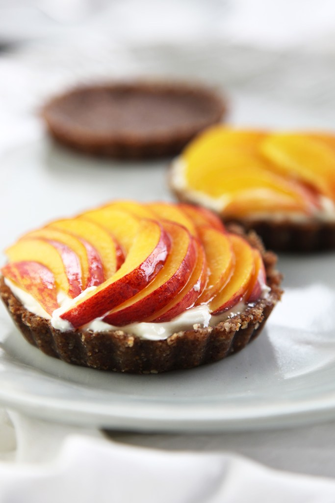 Raw Peach Tarts with Sweet Labneh