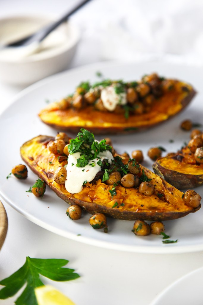 Roasted Sweet Potato with Crispy Chickpeas and Tahini