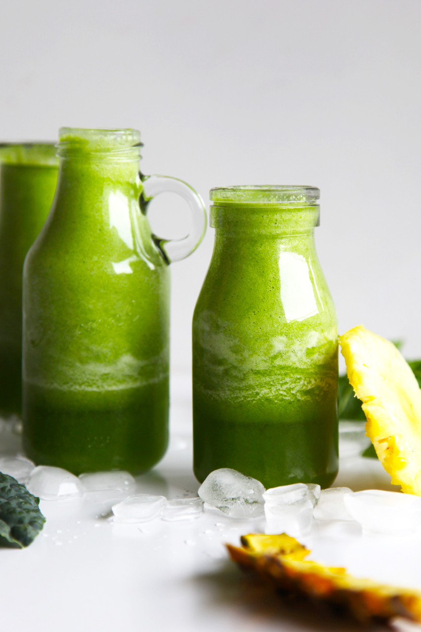 Green smoothie with kale, cucumber, pineapple and mint