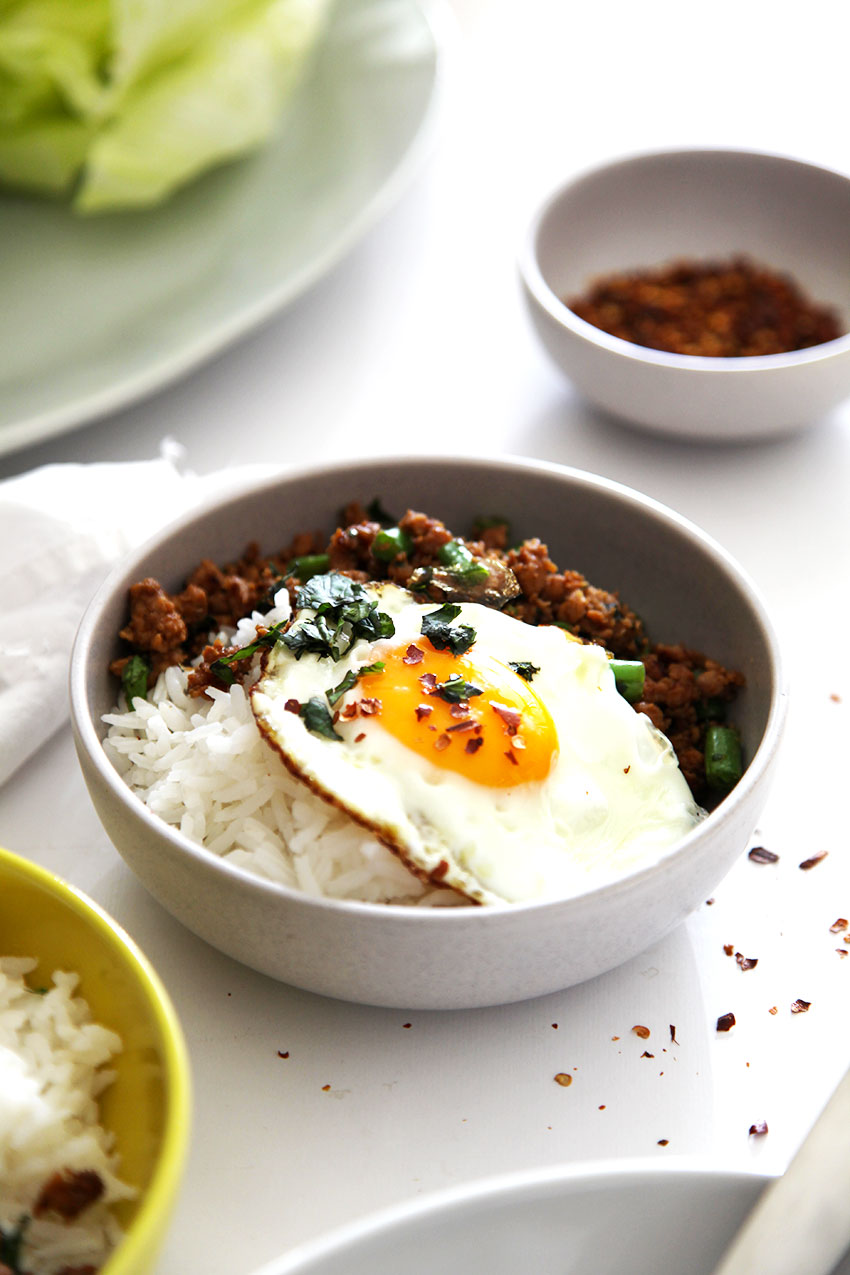 Thai Basil Chicken with fried egg