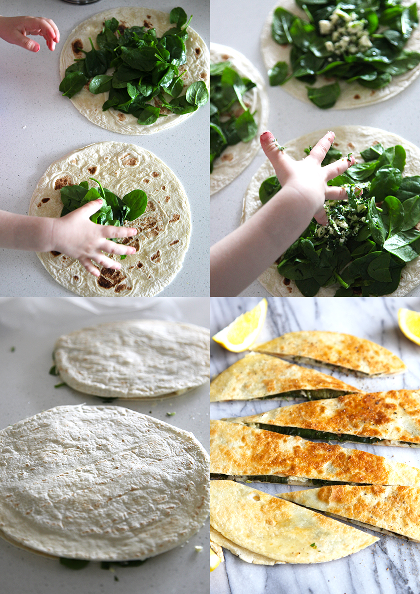 Cheats Gozleme with Feta and Spinach - super quick to make, perfect for quick lunch and school lunch boxes