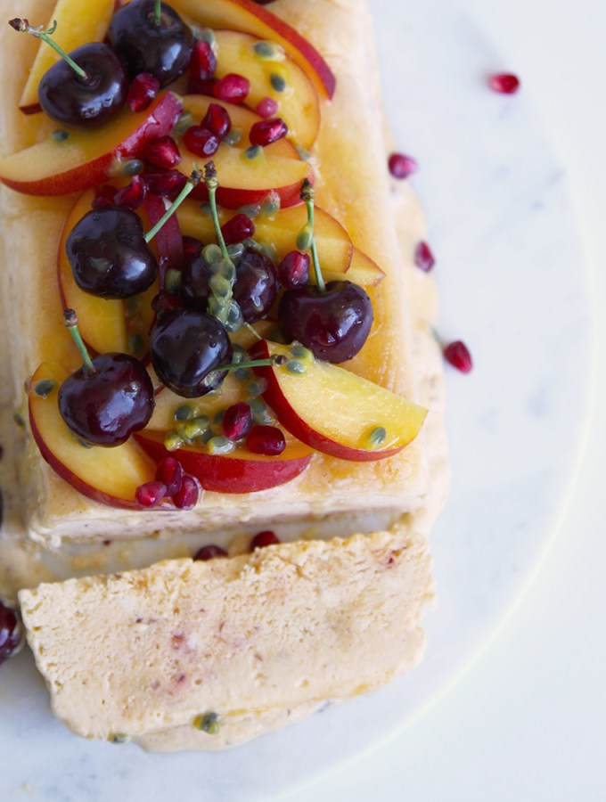 Nectarine and Honey Semifreddo with fresh seasonal fruit - easy to make and a perfect for the whole family