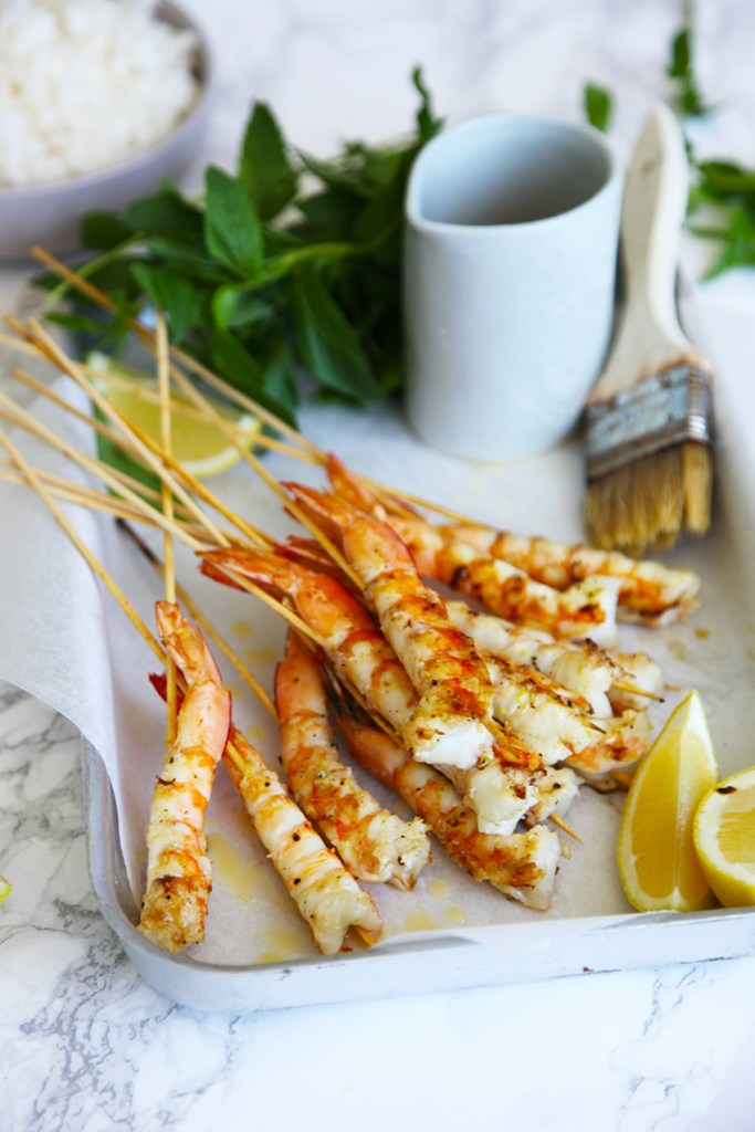 Lemony Salt and Pepper Prawn Skewers
