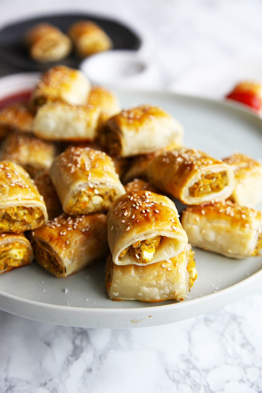 Veggie Sausage Rolls - easy and delicious. Perfect for a snack, lunch or light dinner.
