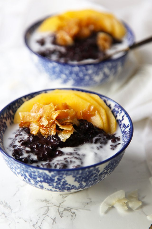 Black sticky rice with caramelised coconut and mango - the perfect balance of sweet and salty
