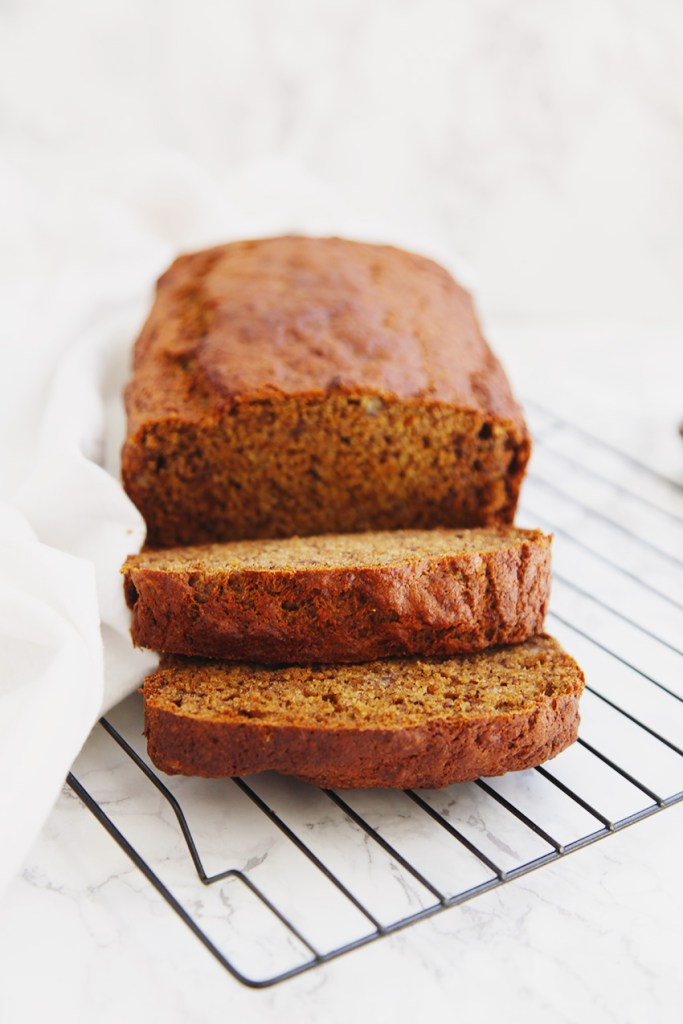 Light and fluffy wholewheat healthy banana bread. Its also refined sugar-free and delicious!