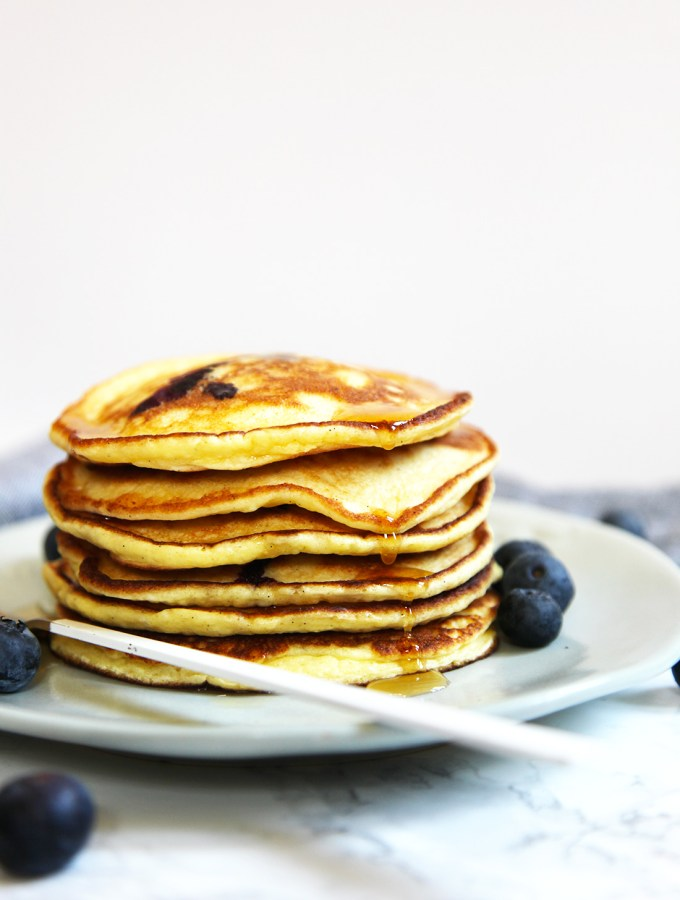 My healthyish ricotta pancakes are simple to make and are light and fluffy. Made using wholemeal flour, eggs, milk, fresh ricotta and baking powder. That's it.