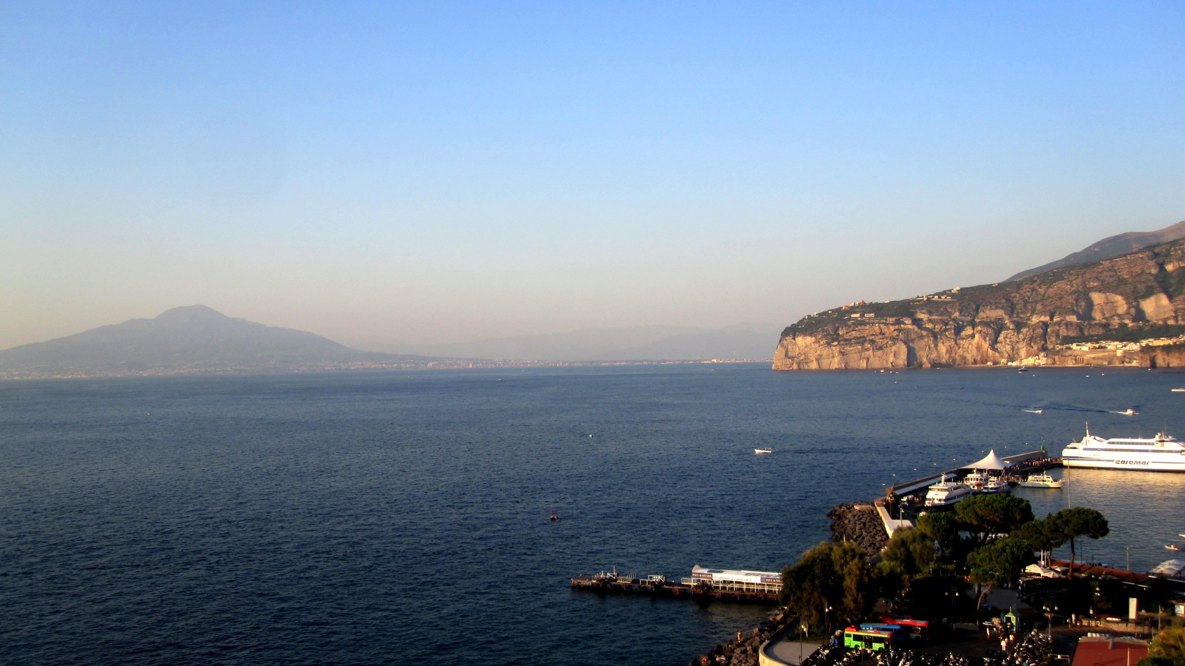 View of the volcano Vesuvio from Sorrento Bay