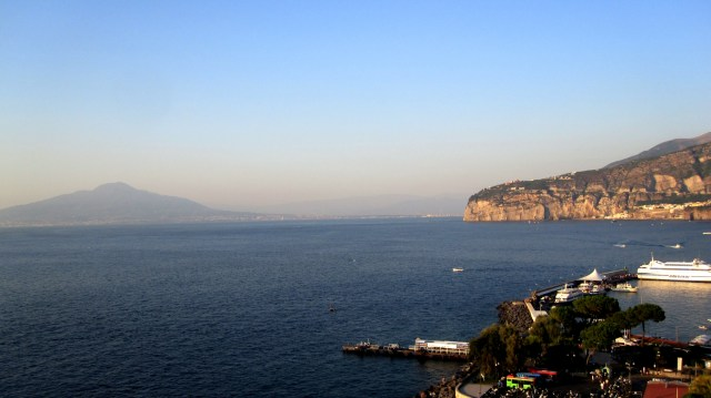 View of the volcano Vesuvio from Sorrento Bay