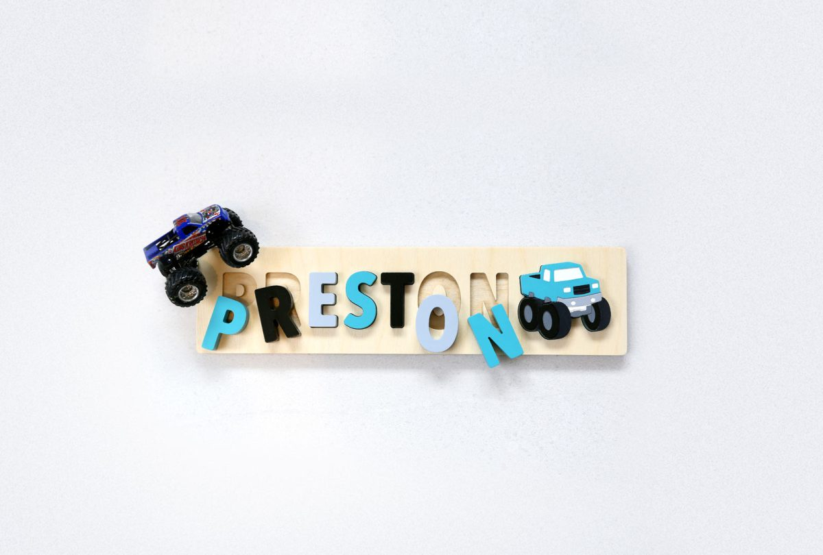 Monster Truck Wood Name Puzzle