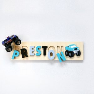 Monster Truck Wooden Name Puzzle